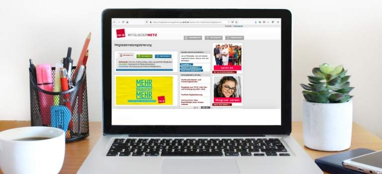 Latop-Bildschirm zeigt Startseite des ver.di-Mitgliedernetz